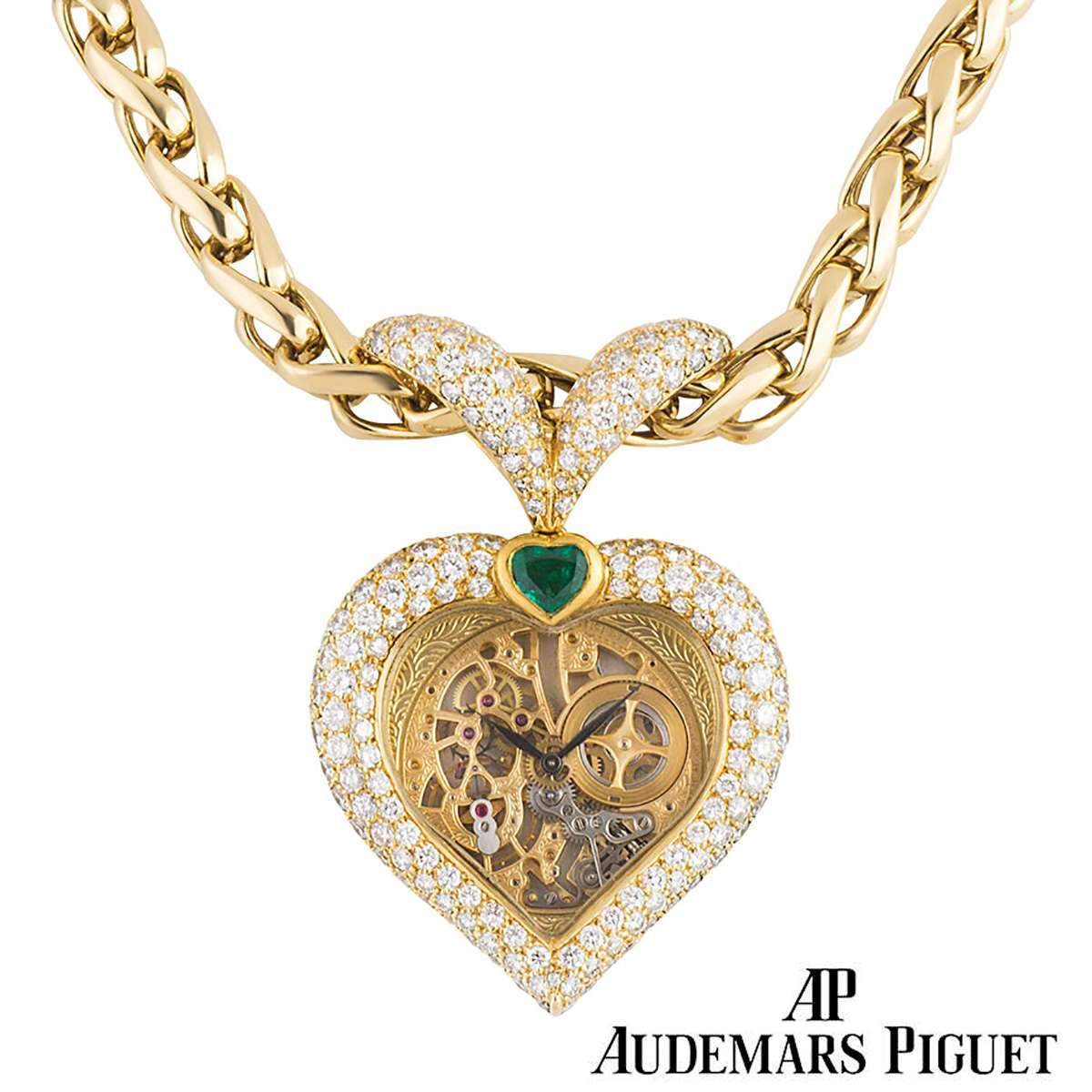 Audemars Piguet Yellow Gold Diamond and Emerald Pendant Watch
